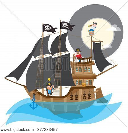 Pirate Frigate. Large A Ship With Black Sails And The Jolly Roger.