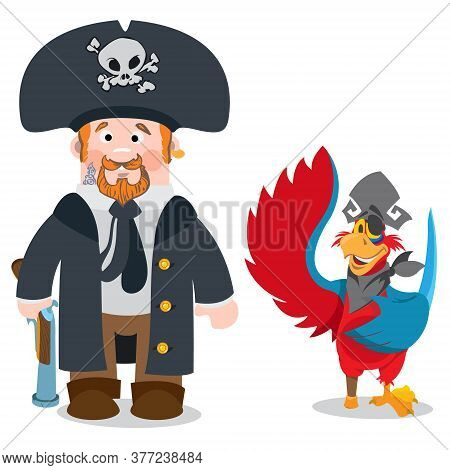 Pirate Captain And Parrot. Cartoon Characters Man And Bird. Drawing On Themes Ganster To Design T-sh