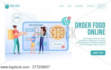 Online Food Order Online Service, Mobile Messenger. Mother, Son Getting Fastfood Snack Hot Pizza Din