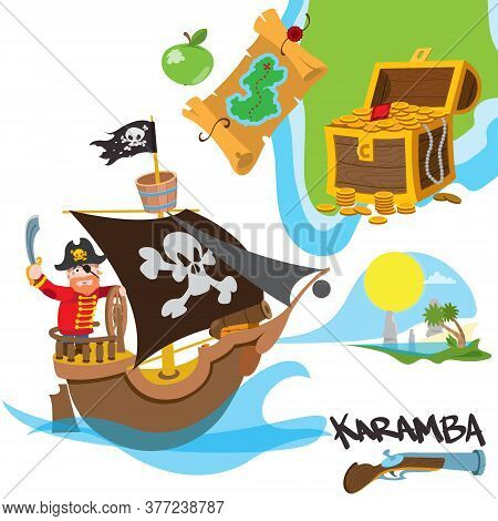 Caricature Illustration With The Image Of A Pirate On The Ship. Set Illustrations With Pirate Attrib