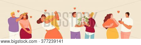People In Love Are Happy Couples. Saint Valentine Holiday Vector Characters