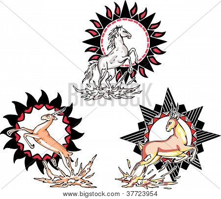 Totems - horse and antelope with solar signs. Set of vector illustrations. poster