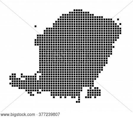 Lombok Map. Map Of Lombok In Dotted Style. Borders Of The Island Filled With Rectangles For Your Des