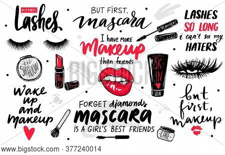 Lashes, Mascara, Makeup-set With Eyes, Red Lips, Lipstick, Eyeshadow And Quotes Or Phrases.