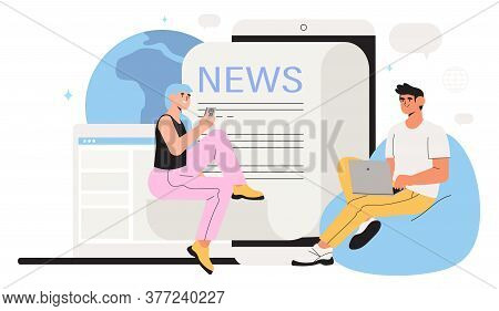 Reading Latest Or Hot News Online On Smartphone Or Laptop. Modern Business Young Men And Women Use N