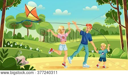 Young Family Son Flying Kite In City Park. Mother, Father, Child Playing Active Game Enjoying Outdoo