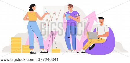 Economics Strategy, Analysis Of Sales, Statistic Grow Data Illustration For Banner, Landing Or Web P
