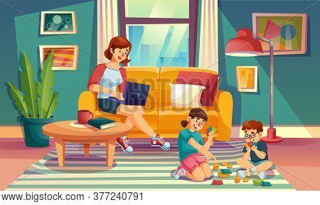 Mother Children Spend Summer Weekend Time Together At Cozy Home Living Room. Loving Mom Freelancer W