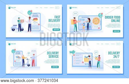 Round-the-clock Food Order Fast Delivery Service Set. People Using Convenient Mobile Application, On