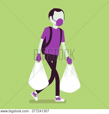 Man Shopping, Wearing Mask, Gloves For Personal Health Care, Protection During Pandemic. Male Consum