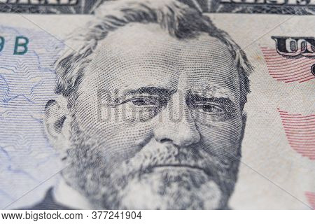 Close-up Portrait Of Ulysses Grant On 50 Dollar Bill, Finance, Capitalism, Financial Crisis