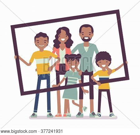 Happy Black Family Portrait. Father, Mother, Son And Daughter, Teen Posing In One Picture Frame Toge