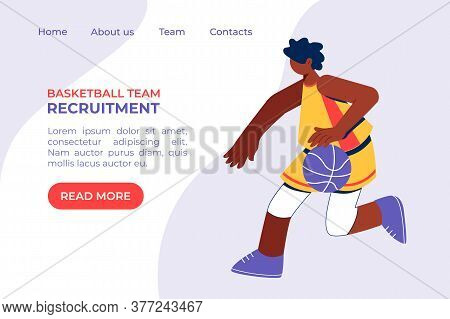 African Boy Playing Basketball Concept. Young Man Training Dribble.