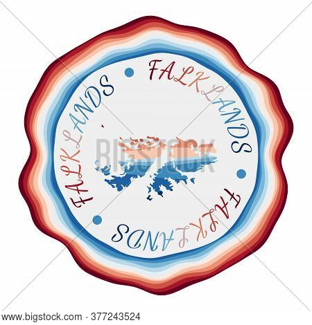 Falklands Badge. Map Of The Country With Beautiful Geometric Waves And Vibrant Red Blue Frame. Vivid