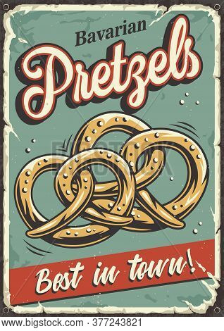 Retro Grange Poster With Bavarian Beer Pretzels