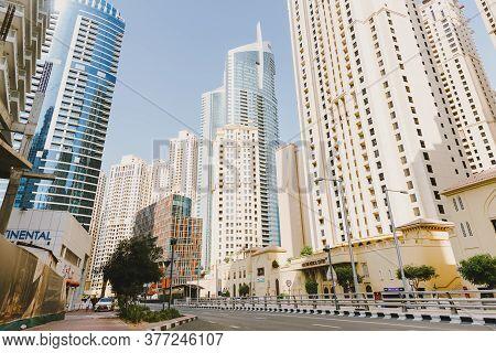 Dubai; Uae - June 6, 2020: Jumeirah Beach Residence, Popular City Area With Residential Buildings, O