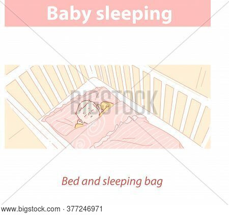 Baby Sleeping In Bed, In Sleeping Bag. Healthy Sleep Mode.