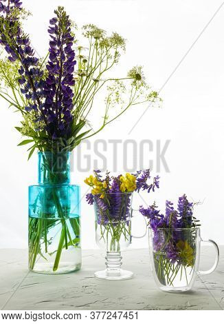 Wildflowers In Vases In Backlight. Flowers Are In A Vase, Glass And Mug