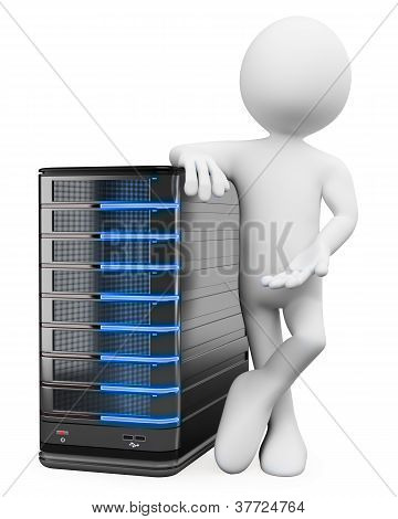 3d white person with a storage web server . 3d image. Isolated white background. poster