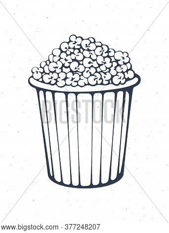 Outline Of Bucket Full Of Popcorn. Striped Paper Cup With Junk Snack. Symbol Of The Film Industry An