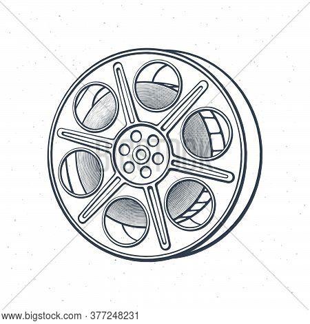 Outline Of Film Stock. Vintage Camera Reel. Movie Industry. Old Cinema Strip. Retro Storage Of Analo