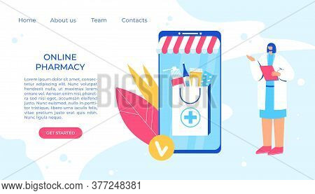 Online Pharmacy Concept. Pharmacist Helps To Collect An Order On The Site.