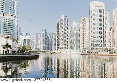 Dubai; Uae - June 6, 2020: View Over Jumeirah Beach Residence From Dubai Marina Promenade