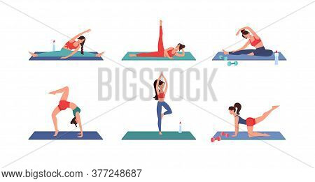 Workout At Home, Fitness Vector. During Quarantine, People Play Sports At Home, In Safety. Set Slend