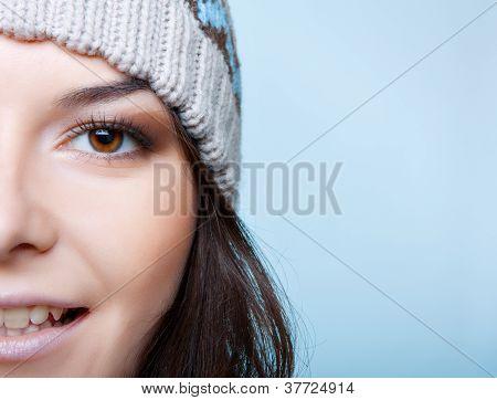half face of winter woman
