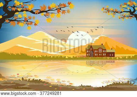 Panorama Autumn Landscape Of Countryside With Beautiful Sunset In Evening.vector Illustration Cartoo