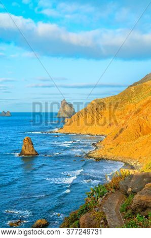 Viewpoint On Famous Benijo Beach Seen From Above With Ocean Waves, Tenerife, Spain. Scenic Sea Shore
