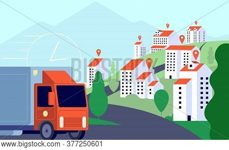 Delivery Truck In City. Commercial Post, Fast Express Mobile Transportation. Gps Tracking Services,