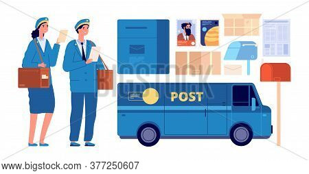 Postman Characters. Postal Mailman, Woman Man In Uniform Send Envelopes. Post Office Equipment Parce