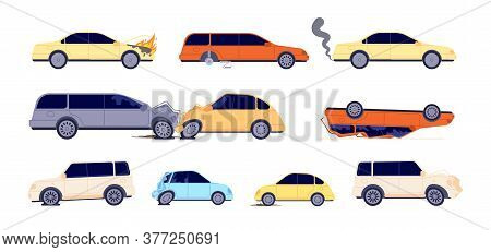 Road Accident. Car Crash, Street Emergency Situations. Broken Vehicle Insurance Cases, Transport Nee