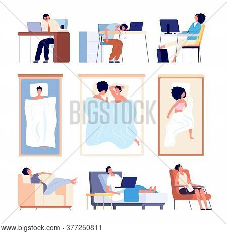 People Sleeping. Couple Sleep In Bed Blanket, Flat Tired Man Woman. Isolated Asleep Characters On So