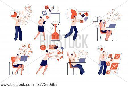Work Deadline. Fail Corporate Planning, Working Stress Businessman. Inefficient Office Time Manageme
