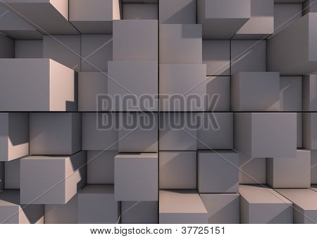 Abstract background image of grey cubes