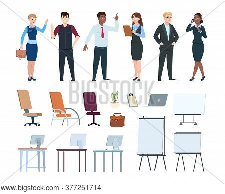 Corporate People. Office Interior Furniture, Multimedia Boards Chairs Computer Desks. Cartoon Busine