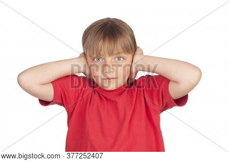 Frightened girl covering her ears isolated on white background