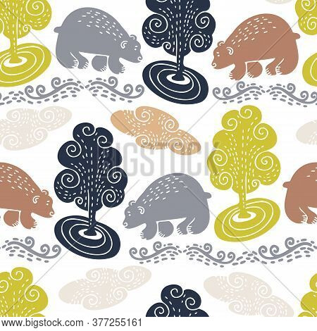 Vector Seamless Pattern Design Of Abstract Nordic Bears And Trees With Ornaments