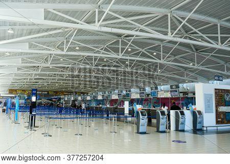 Larnaca, Cyprus, July 19 2020: The Empty Passengers Terminal Due To Covid 19 Coronavirus Disease Of