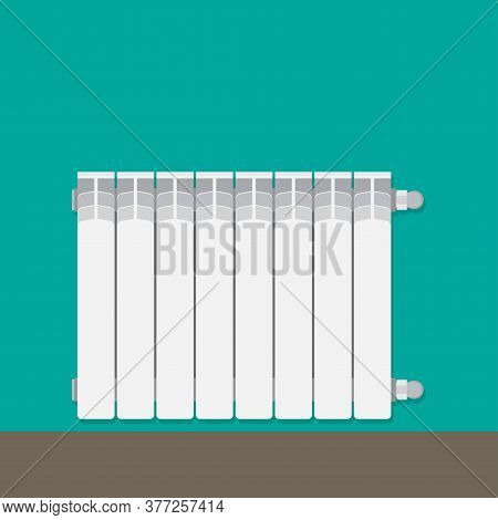 Heating Battery For Room. Aluminum Central Heating Battery Radiator On Wall. Vector Illustration.