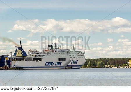 Swinoujscie, West Pomeranian / Poland - 2020: Passenger Ferries Are Getting Ready For A Cruise At Th