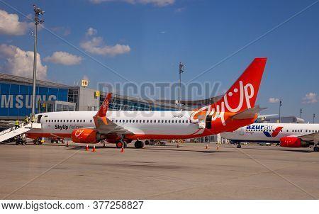 Kyiv, Ukraine - July 1, 2020: Boeing 737-8h6 Aircraft - Ur-sqf Airplane On The Platform Of Boryspil