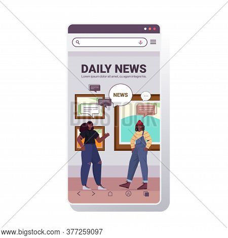Couple Discussing Daily News During Meeting In Art Gallery Chat Bubble Communication Concept Visitor
