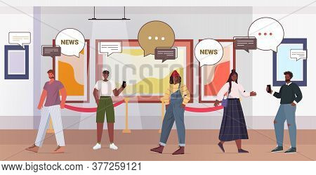 People Discussing Daily News During Meeting In Art Gallery Chat Bubble Communication Concept Mix Rac