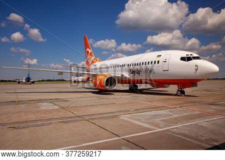 Kyiv, Ukraine - July 1, 2020: Passanger Plane Boeing 737-8h6 Aircraft - Ur-sqo. Airplane On The Plat