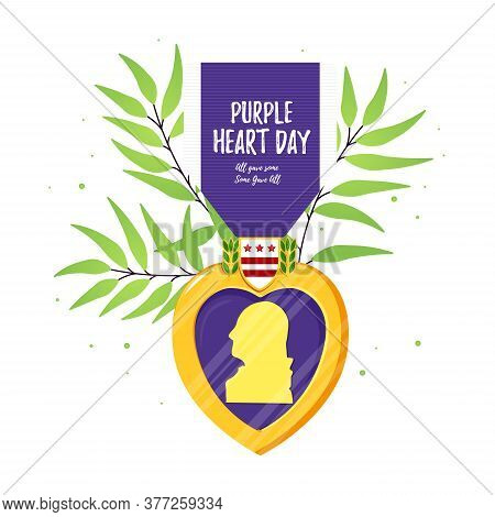 Purple Heart Day. Isolated Vector Badge And Purple Ribbon In Flat Style With Green Branch Leaves. Ce
