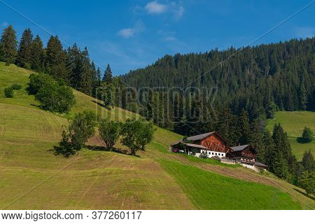 Summer Landscape With Mountain Hut Surrounded By Greenery And With Numerous Pine Trees, Daytime Imag
