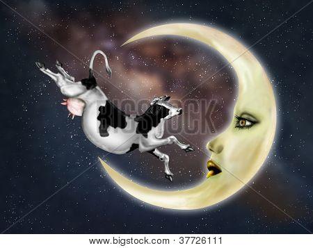 Vaca saltada sobre a lua